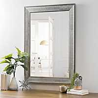 Silver Grid Framed Wall Mirror, 31.5x43.5 in.