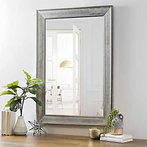 Silver Grid Bevel Wall Mirror, 36 in.