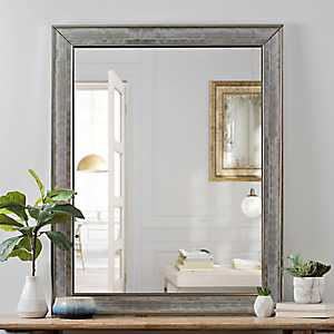 Silver Grid Bevel Wall Mirror, 40 in.