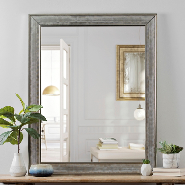 silver grid bevel wall mirror 40 in