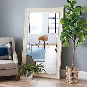Shabby White Framed Wall Mirror, 36x66 in.