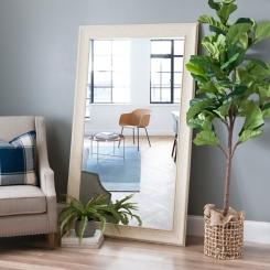 Shabby White Framed Wall Mirror, 45x75 in.