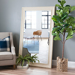 Shabby White Framed Wall Mirror, 36x66 in.