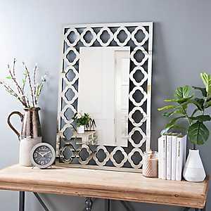 Quatrefoil Rectangular Beveled Wall Mirror