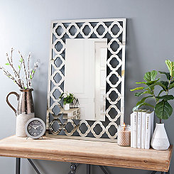 Quatrefoil Rectangular Beveled Wall Mirror