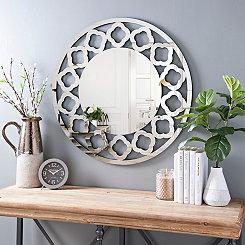 Quatrefoil Round Beveled Wall Mirror