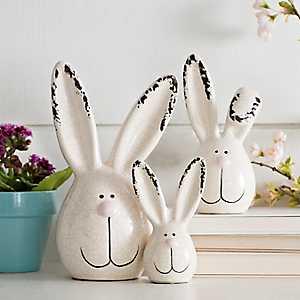 Bunny Head Figurines, Set of 3