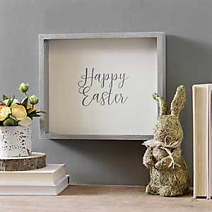 Framed Gray Happy Easter Wall Plaque