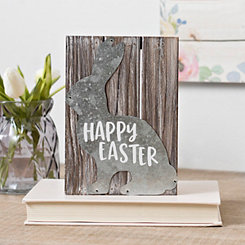 Galvanized Bunny Happy Easter Pallet Box Sign