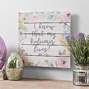 Floral Redeemer Easter Pallet Block Sign