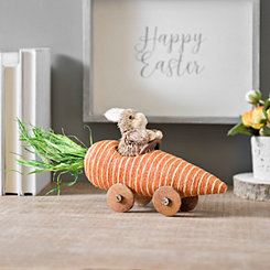 Decorative Easter Bunny in Carrot Car Figurine