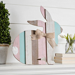 Multicolor Wood Plank Easter Bunny with Easel