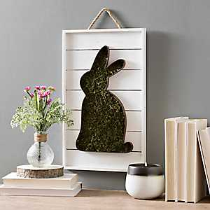 Moss Cut-Out Easter Bunny on Shiplap Wall Plaque