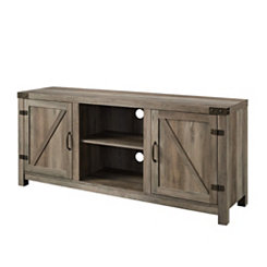 Graywash Barn Doors Media Cabinet