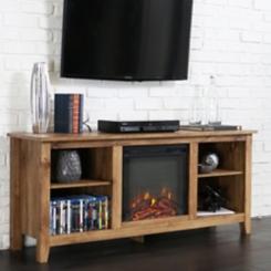 Barnwood Fireplace Media Cabinet