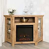 Barnwood Corner Fireplace Media Cabinet