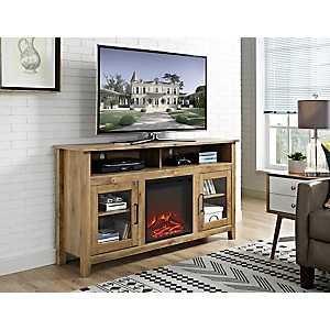 Barnwood Highboy Fireplace Media Cabinet