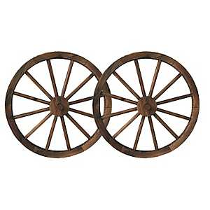 Wagon Wheel Wall Plaques, Set of 2
