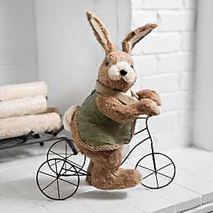 Vintage Grass Easter Bunny on Tricycle