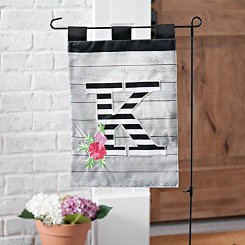 Black and White Stripes Monogram Flag Sets