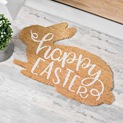 Coir Fiber Bunny Shaped Happy Easter Welcome Mat