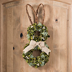 Wood Curl Bunny Easter Wreath