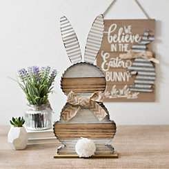 Rustic Stripe Tabletop Bunny