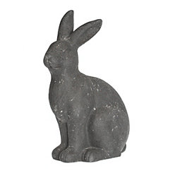 Gray Resin Outdoor Rabbit Statue