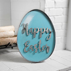 Jeweled Happy Easter Galvanized Egg Sign