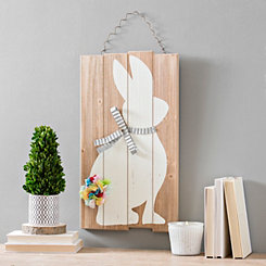 Galvanized Bow and Fabric Tail Bunny Wall Plaque