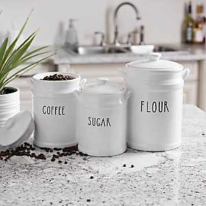 Flour, Coffee, and Sugar Canisters, Set of 3