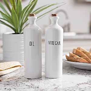 Ceramic Oil and Vinegar Bottles, Set of 2