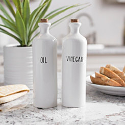 Ceramic Oil and Vinegar Bottles, Set of 2