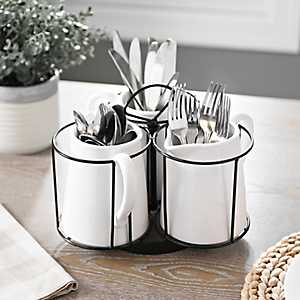 White Ceramic Pitcher 3-Section Caddy
