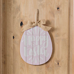 Pink Happy Easter Egg with Ribbon Wall Plaque