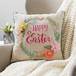 Happy Easter Flower Wreath Felt Pillow