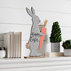 Galvanized Happy Easter Bunny on Wooden Stand