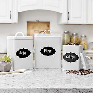 White Metal and Chalkboard Canisters, Set of 3