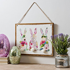 Watercolor Bunnies with Cotton Tails Wall Plaque