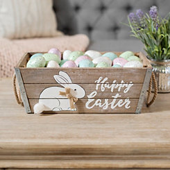 Happy Easter Wood Crate with Rope Handles