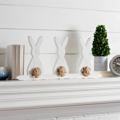 Three Bunny Burlap Tail Mantel Sitter
