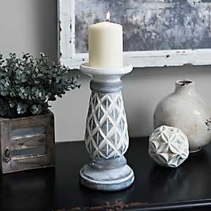 Gray Diamond Candle Holder, 10 in.