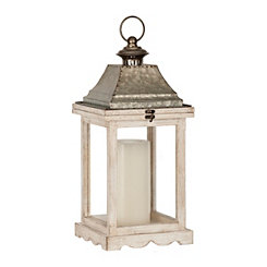 Antique Ivory and Metal Top Lantern, 18 in.