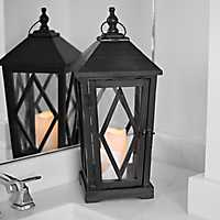 Black Wooden Lantern with LED Candle