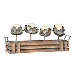 Galvanized Flower Crate Candle Runner