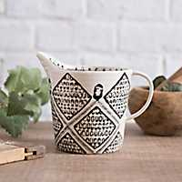 Black and White Painted Artisan Measuring Mug