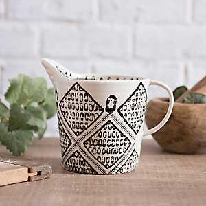 Black and White Painted Artisan Measuring Mug