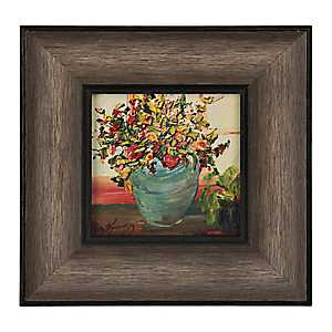 Rustic Florals in Blue Vase Framed Art Print