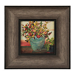 Rustic Florals in Blue Vase Framed Art Print