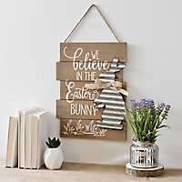 Wood Plank Easter Words Hanging Wall Plaque